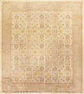 Ivory Antique Square Persian Sultanabad Rug 50590 Nazmiyal