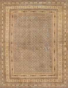 Oversize Mahi Fish Design Antique Khorassan Persian Rug 50620 Nazmiyal