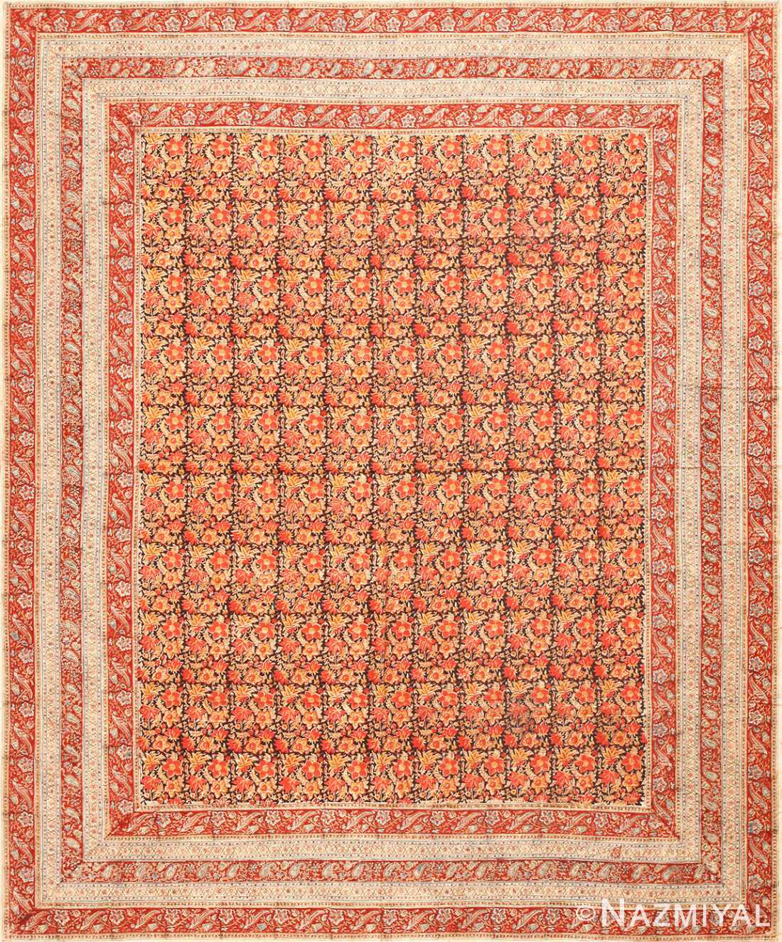 Antique Persian Floral Textile 48803 Nazmiyal