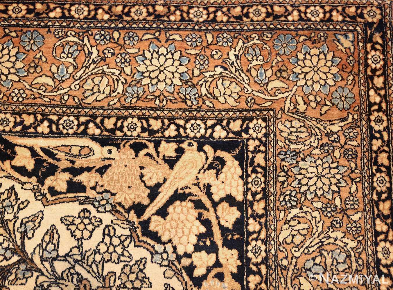 antique prayer design persian isfahan rug 50645 birds Nazmiyal
