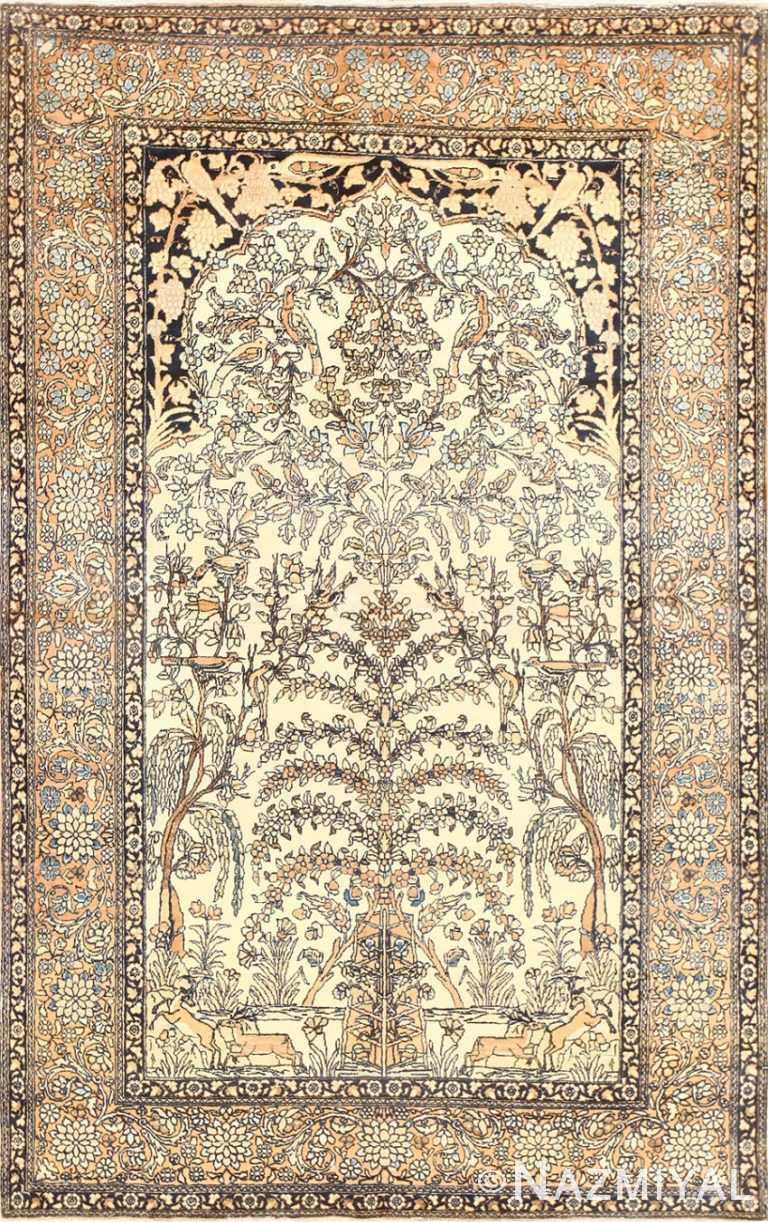 Antique Prayer Design Persian Isfahan Rug 50645 Nazmiyal