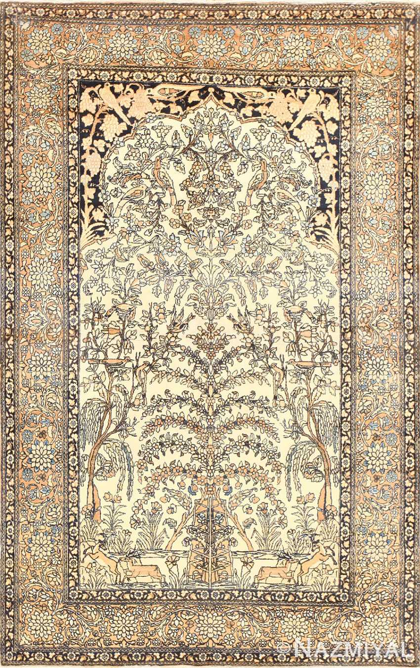 Antique Prayer Design Persian Isfahan Rug 50645 Nazmiyal