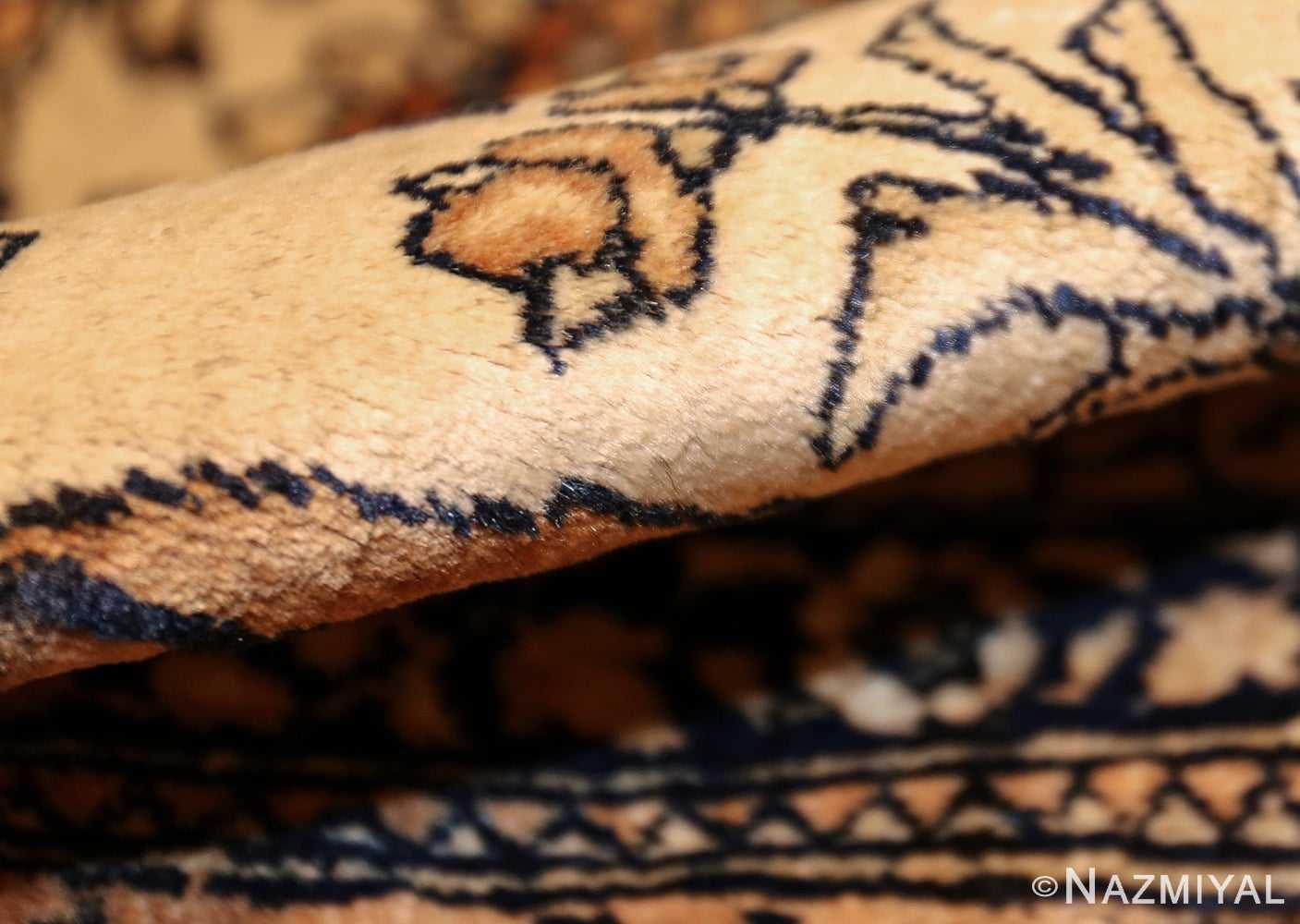 antique prayer design persian isfahan rug 50645 pile Nazmiyal