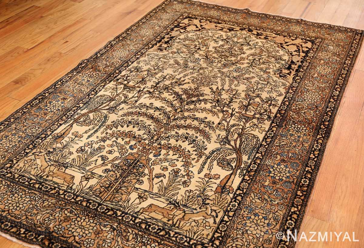 antique prayer design persian isfahan rug 50645 side Nazmiyal