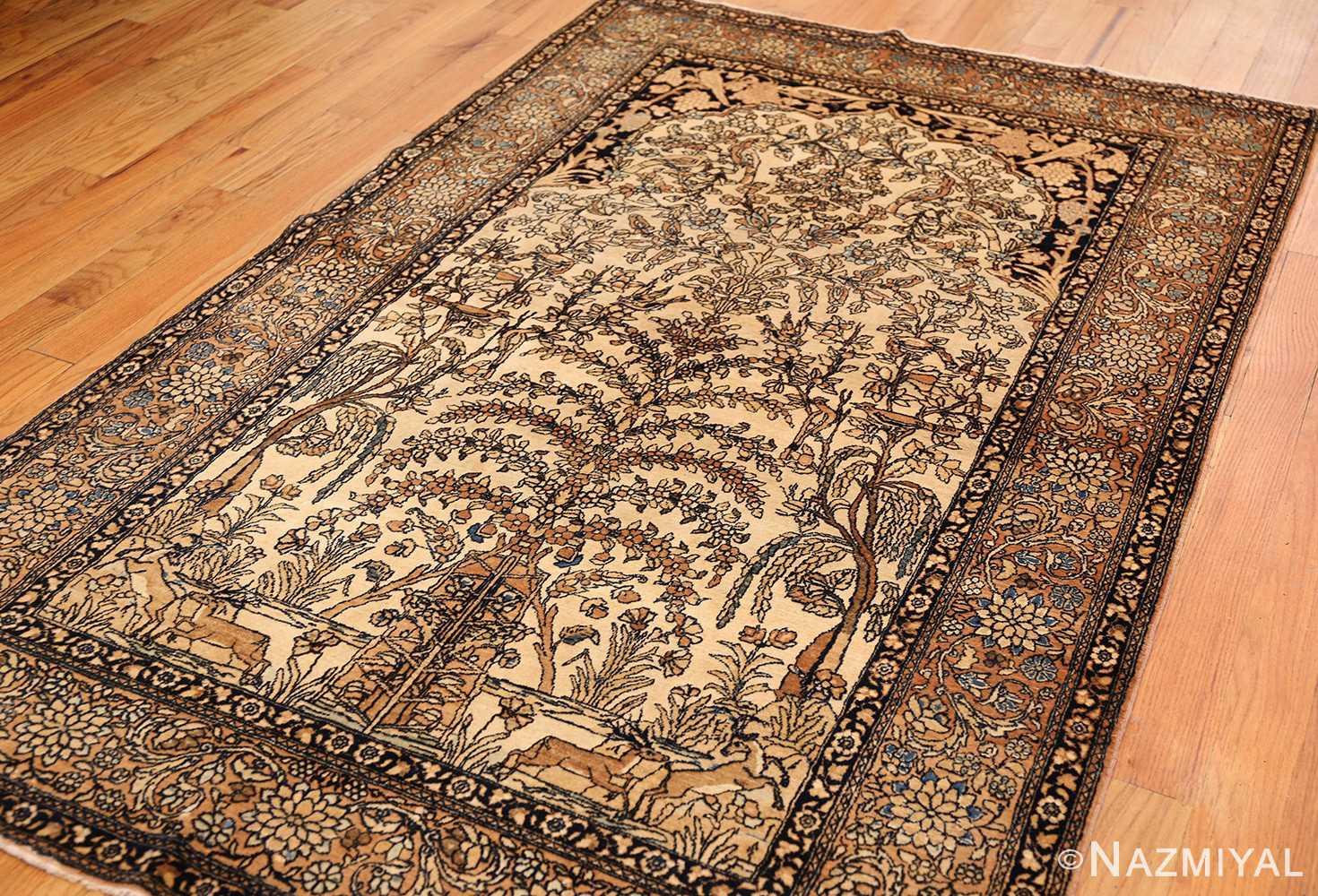 antique prayer design persian isfahan rug 50645 side Nazmiyal