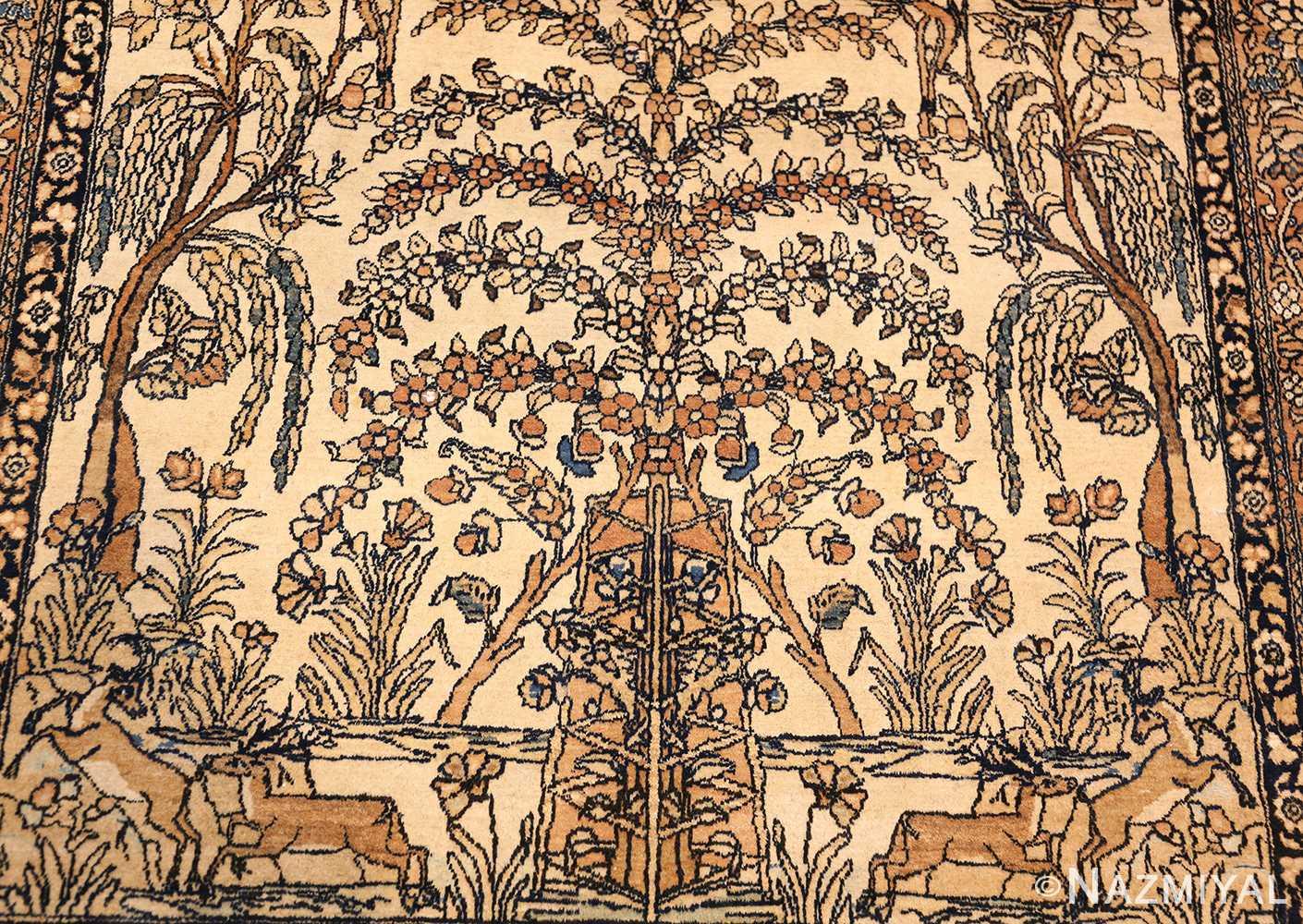 antique prayer design persian isfahan rug 50645 tree Nazmiyal