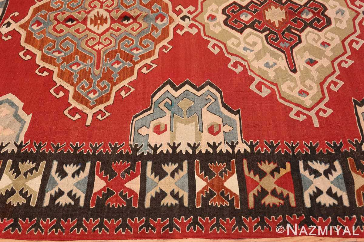 Border Vintage Tribal Turkish Kilim rug 50636 by Nazmiyal