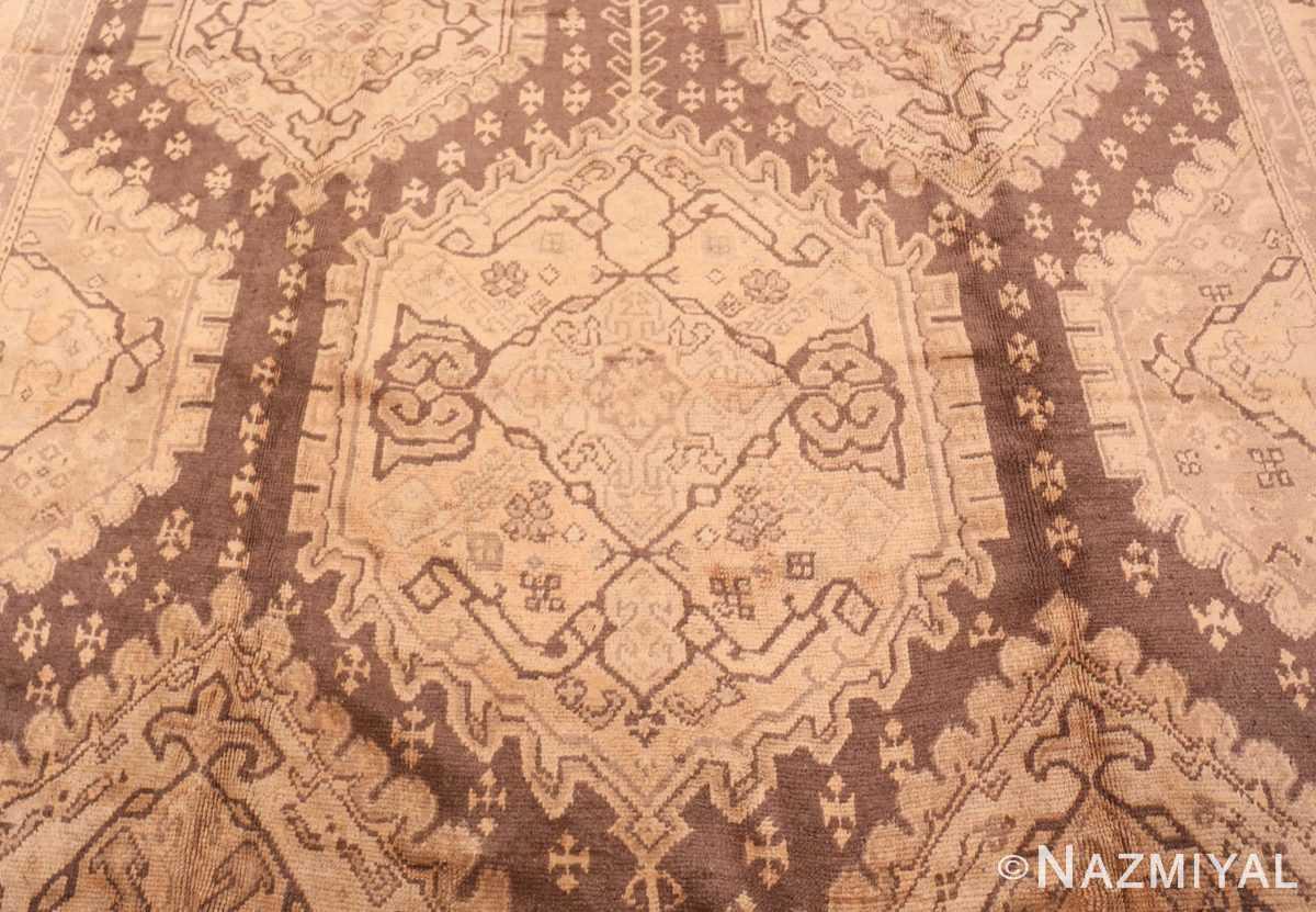 Field decorative large Antique Turkish Oushak rug 50566 by Nazmiyal