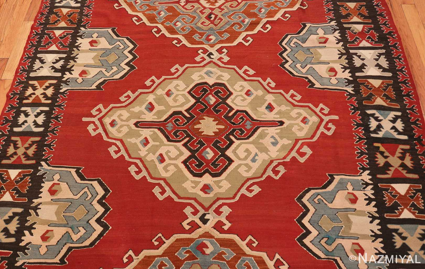 Red Background Vintage Tribal Turkish Kilim Rug 50636 Nazmiyal