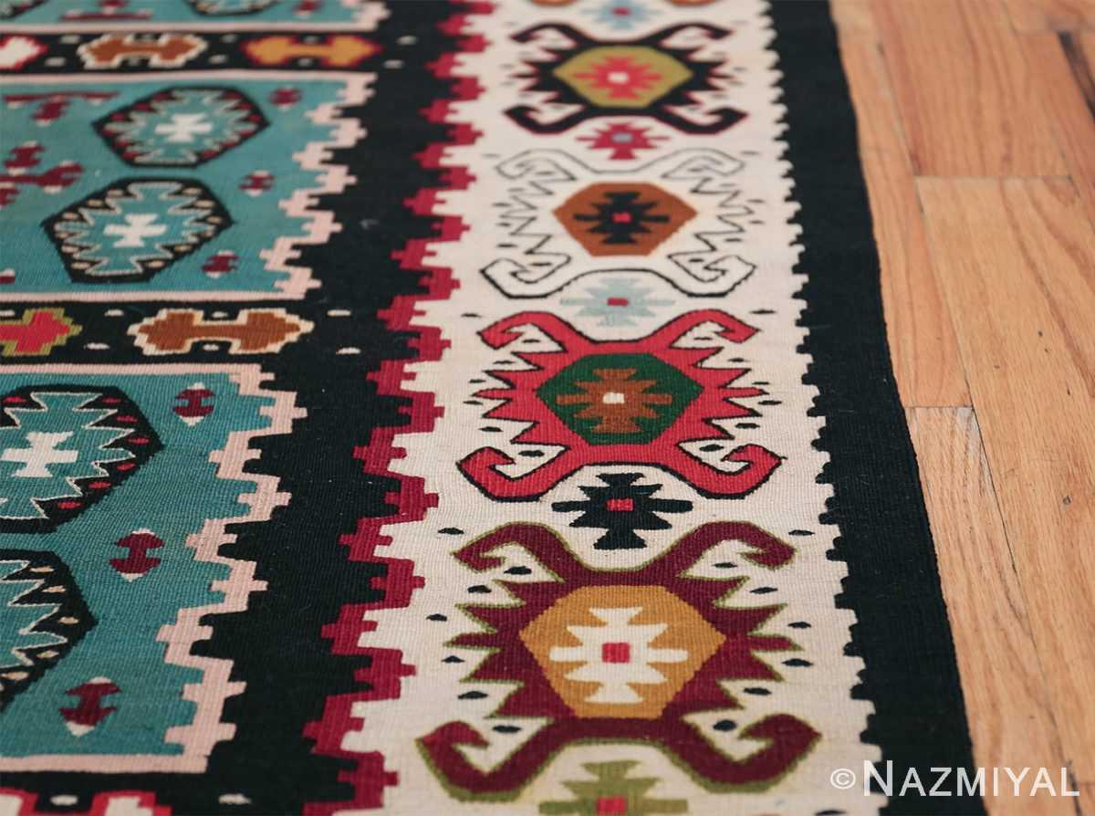 Fine Light Blue Tribal Antique Turkish Kilim Rug 50628 Border Design Nazmiyal