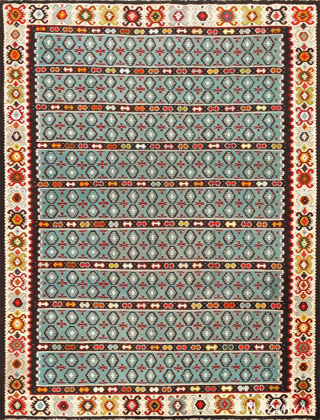 Fine Light Blue Tribal Antique Turkish Kilim Rug 50628 Nazmiyal
