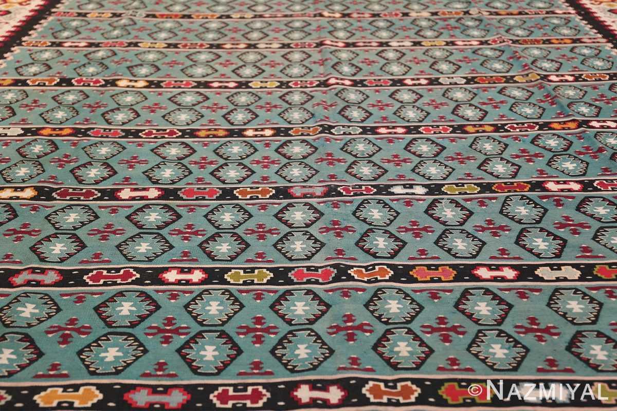 Fine Light Blue Tribal Antique Turkish Kilim Rug 50628 Field Design Nazmiyal