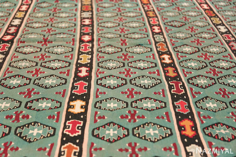 Fine Light Blue Tribal Antique Turkish Kilim Rug 50628 Horizontal Lines Nazmiyal