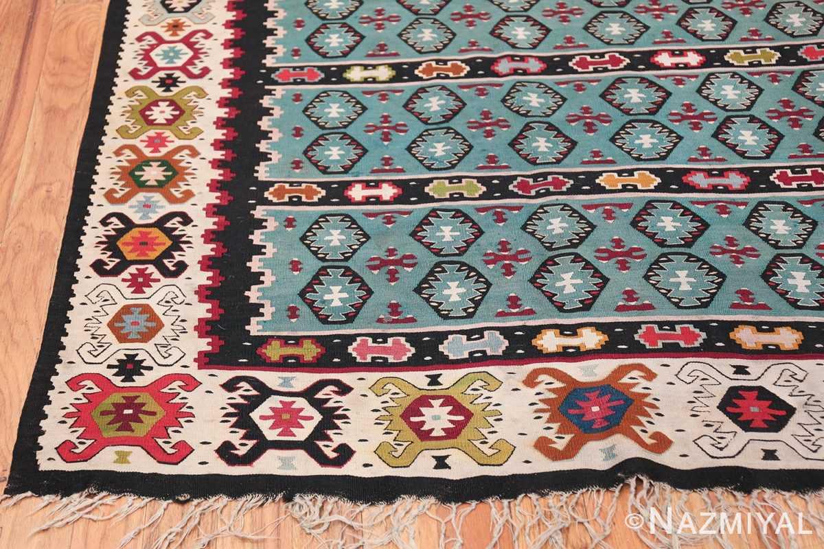 Fine Light Blue Tribal Antique Turkish Kilim Rug 50628 Side Corner Nazmiyal