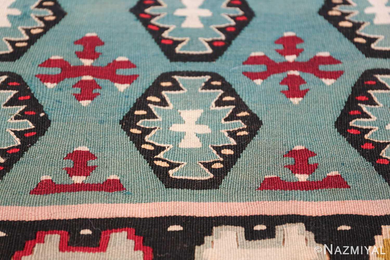 Fine Light Blue Tribal Antique Turkish Kilim Rug 50628 White Cross Nazmiyal