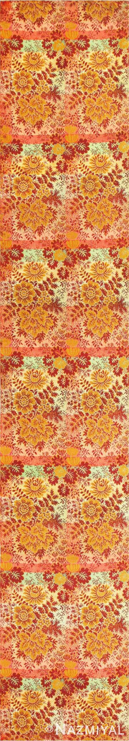 Floral Antique American Ingrain Runner Rug 50553 Nazmiyal