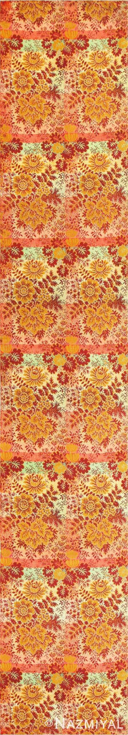 Floral Antique American Ingrain Runner Rug 50553 Nazmiyal