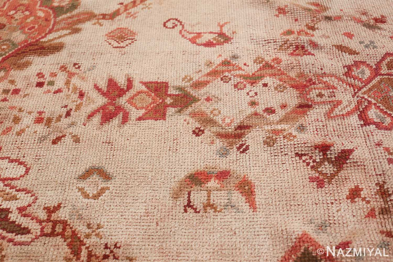 Large Ivory Background Antique Irish Donegal Rug 47566 Colorful Shrimp Nazmiyal