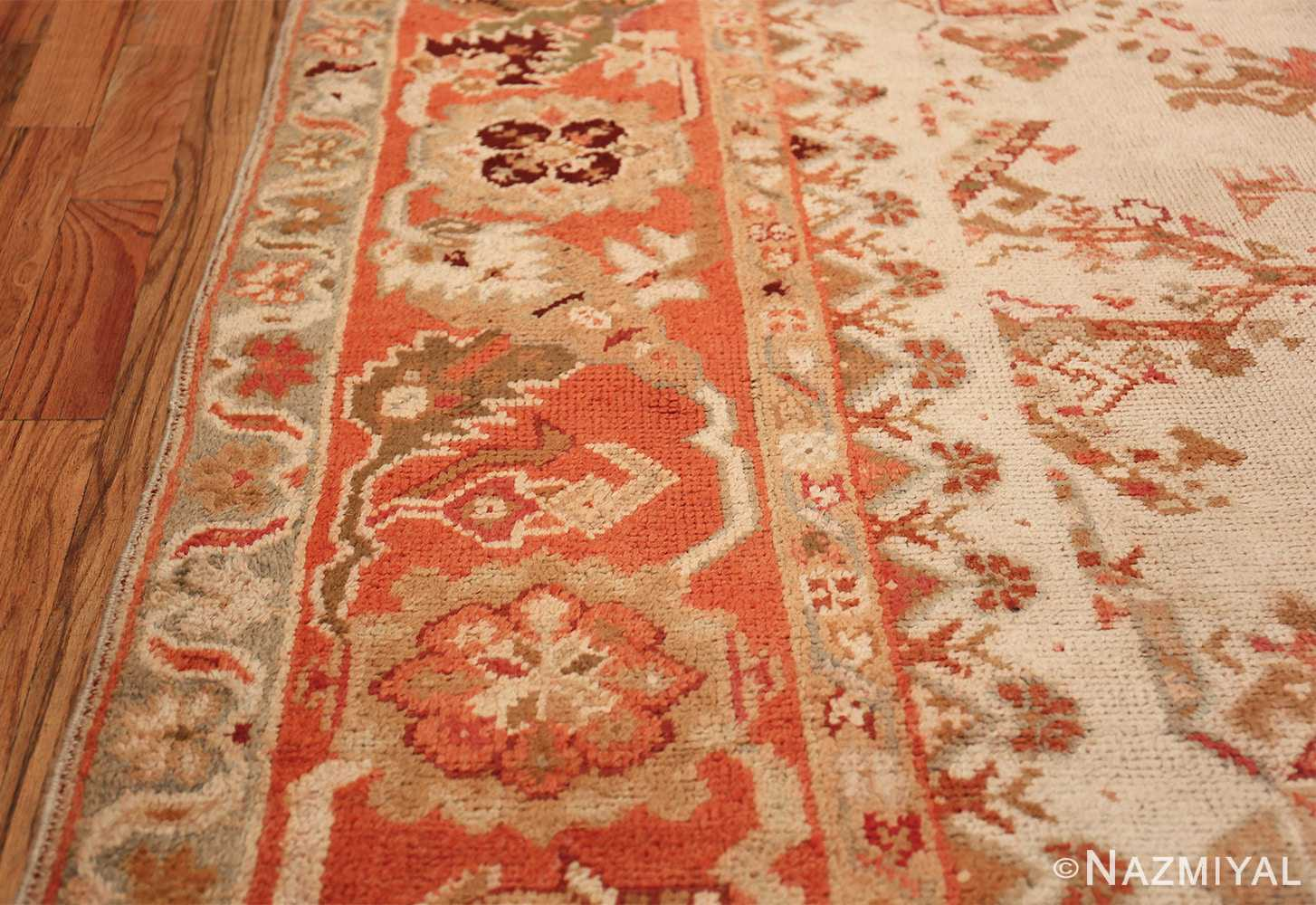 Large Ivory Background Antique Irish Donegal Rug 47566 Orange Border Nazmiyal