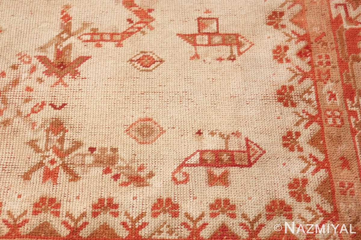 Large Ivory Background Antique Irish Donegal Rug 47566 Primitive Art Nazmiyal