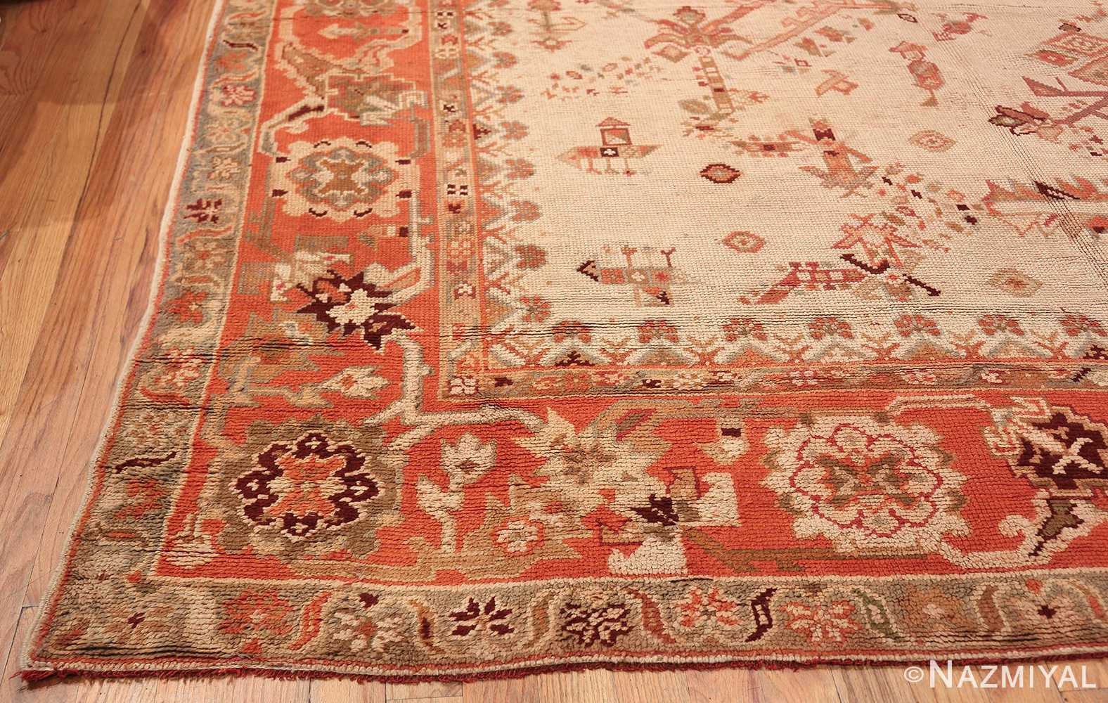Large Ivory Background Antique Irish Donegal Rug 47566 Side Corner Nazmiyal