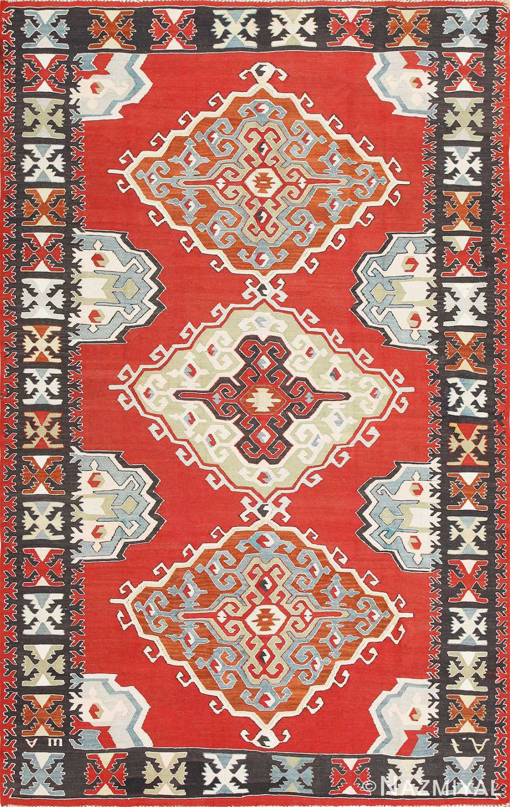 Red Background Vintage Tribal Turkish Kilim Rug 50636 Nazmiyal