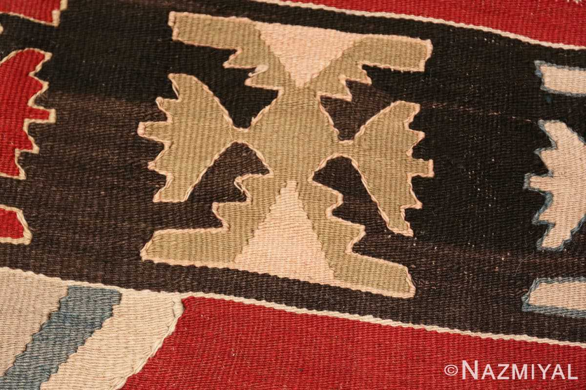 Weave detail Vintage Tribal Turkish Kilim rug 50636 by Nazmiyal