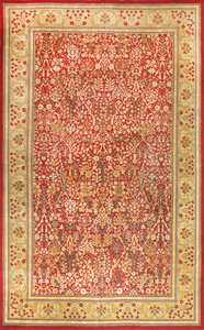 Beautiful Red Background Antique Indian Amritsar Rug 50650 Nazmiyal