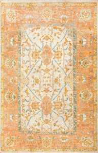 Large Ivory Background Turkish Antique Oushak Rug 50666 Nazmiyal