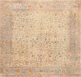 Rare Square Size Persian Antique Tabriz Rug 50359 Nazmiyal