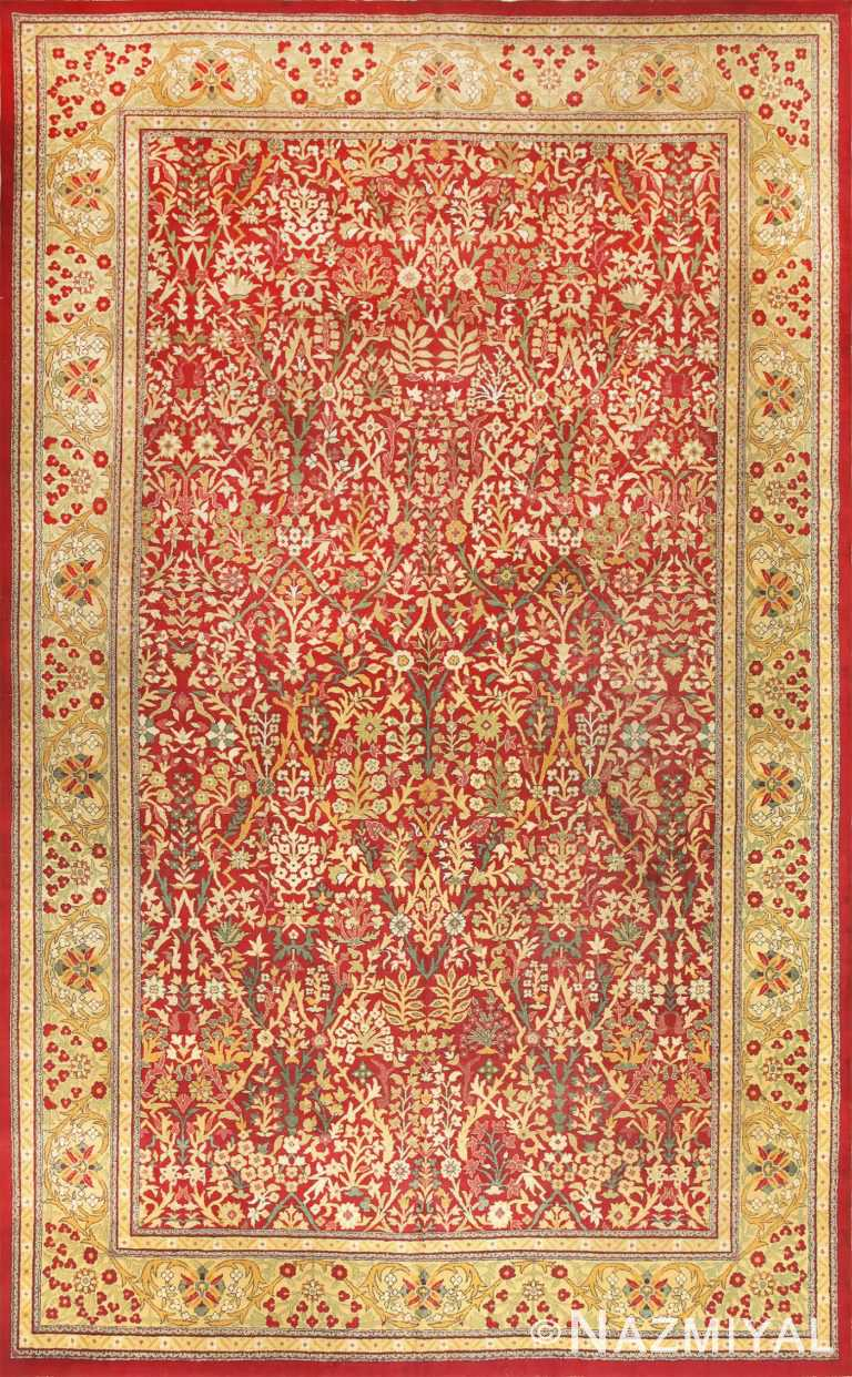 Beautiful Red Background Antique Indian Amritsar Rug 50650 Nazmiyal