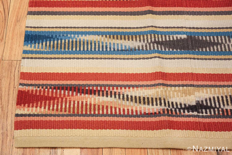 Beautiful Square Vintage Swedish Kilim rug 48821 color corner Nazmiyal