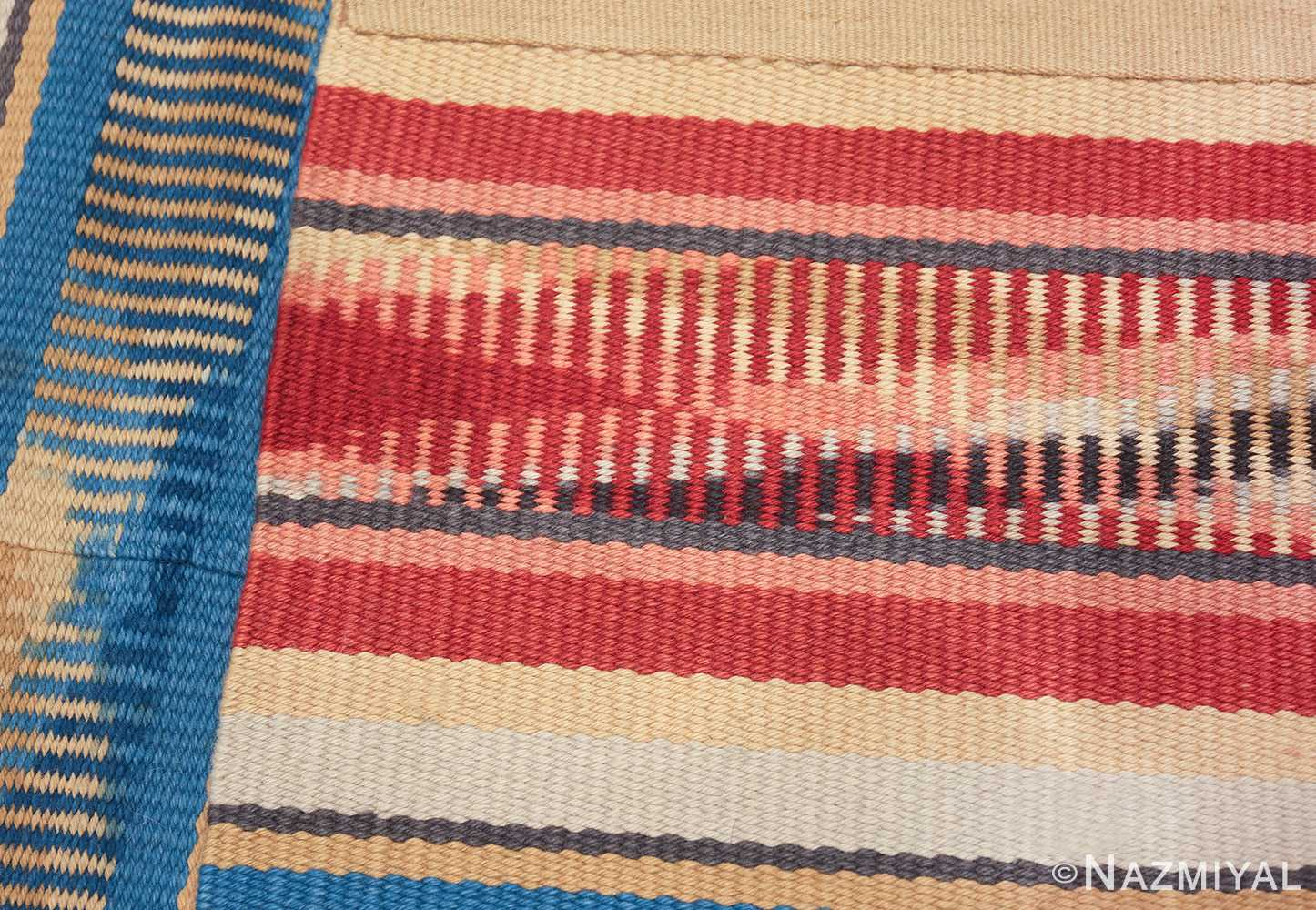 Beautiful Square Vintage Swedish Kilim rug 48821 geometric knots Nazmiyal