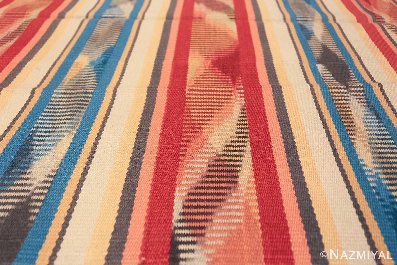 Beautiful Square Vintage Swedish Kilim rug 48821 rows of colors Nazmiyal