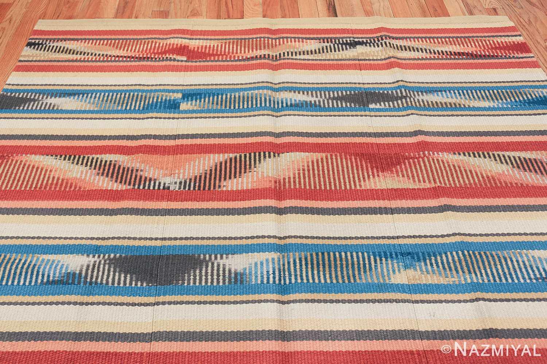 Beautiful Square Vintage Swedish Kilim rug 48821 top Nazmiyal