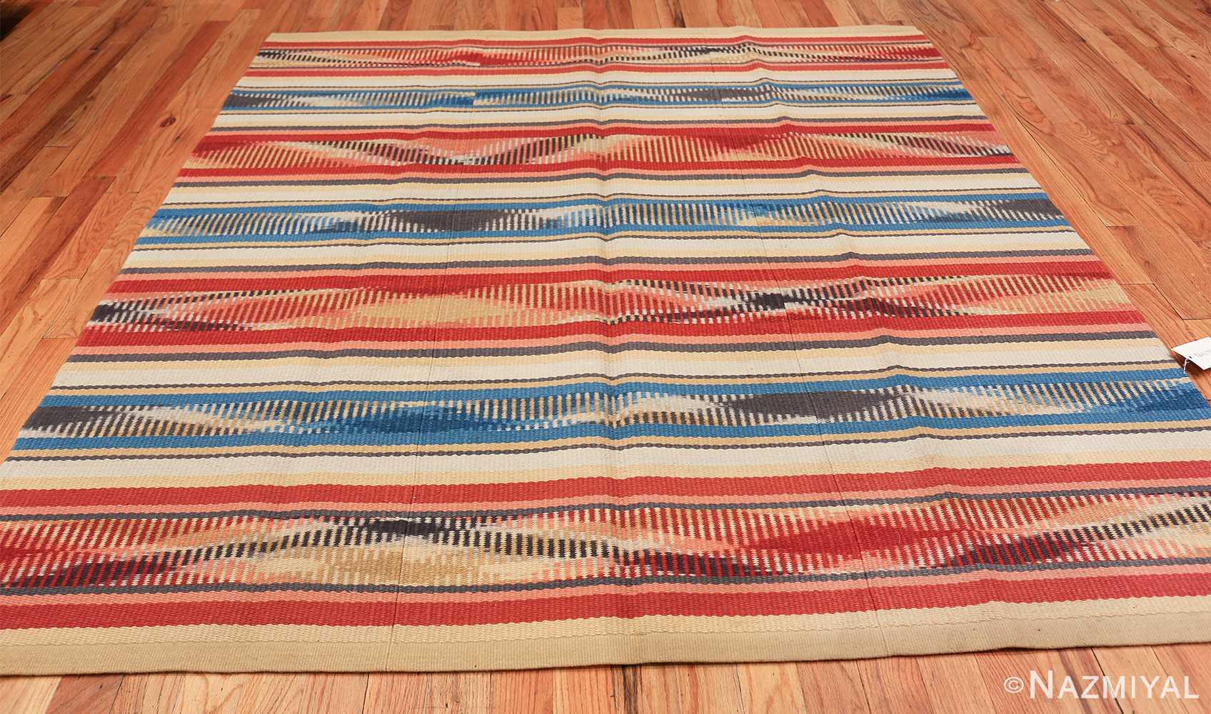 Beautiful Square Vintage Swedish Kilim rug 48821 whole perspective Nazmiyal
