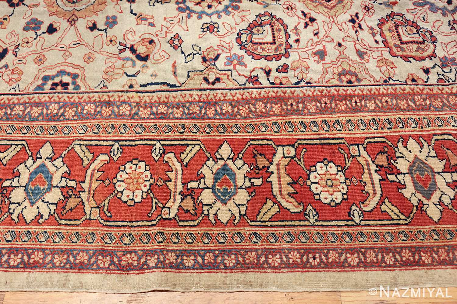 ivory background room size persian antique sultanabad rug 50676 border Nazmiyal