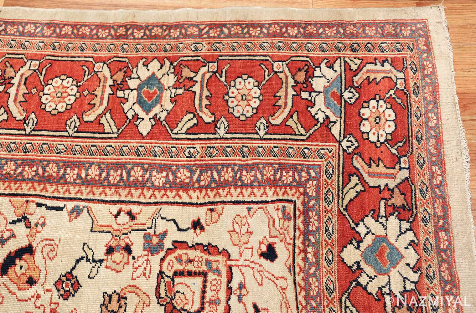 ivory background room size persian antique sultanabad rug 50676 corner Nazmiyal