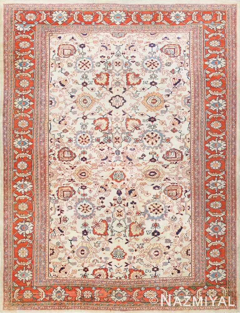 Ivory Background Room Size Persian Antique Sultanabad Rug 50676 Nazmiyal