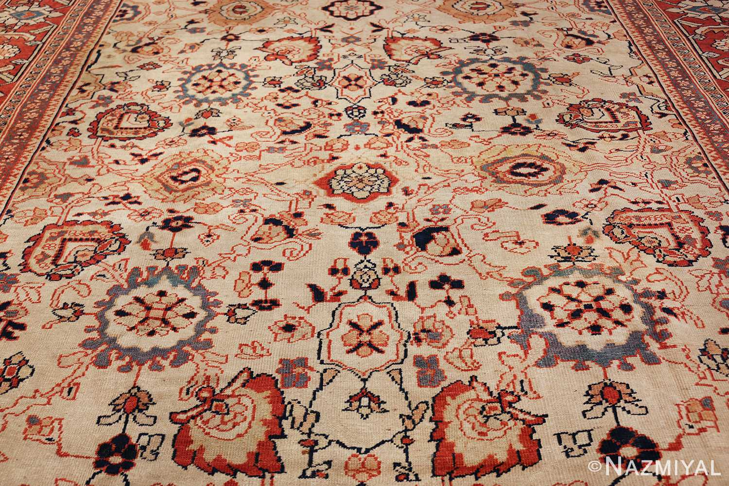 ivory background room size persian antique sultanabad rug 50676 field Nazmiyal