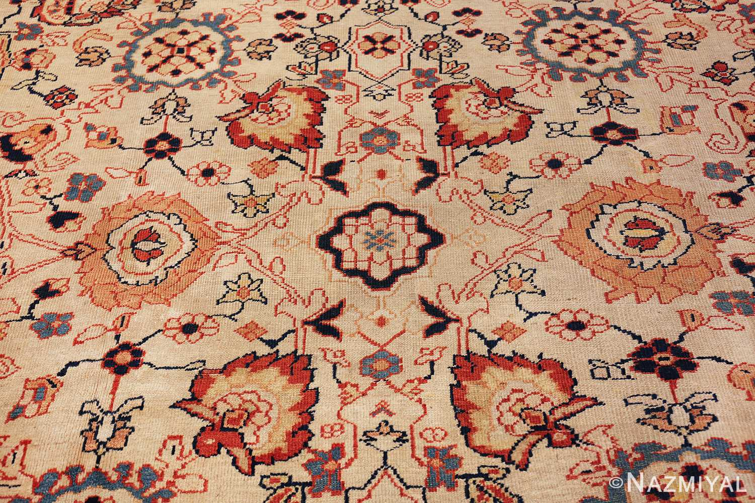 ivory background room size persian antique sultanabad rug 50676 heart Nazmiyal