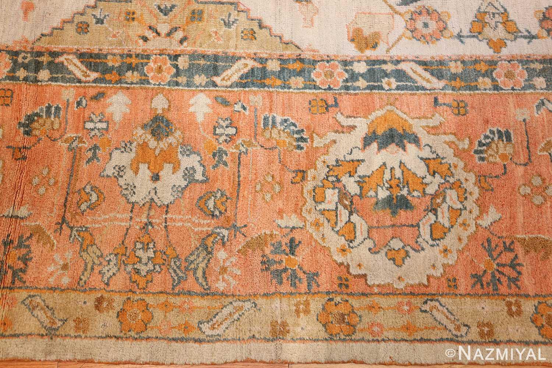 large ivory background turkish antique oushak rug 50666 border Nazmiyal