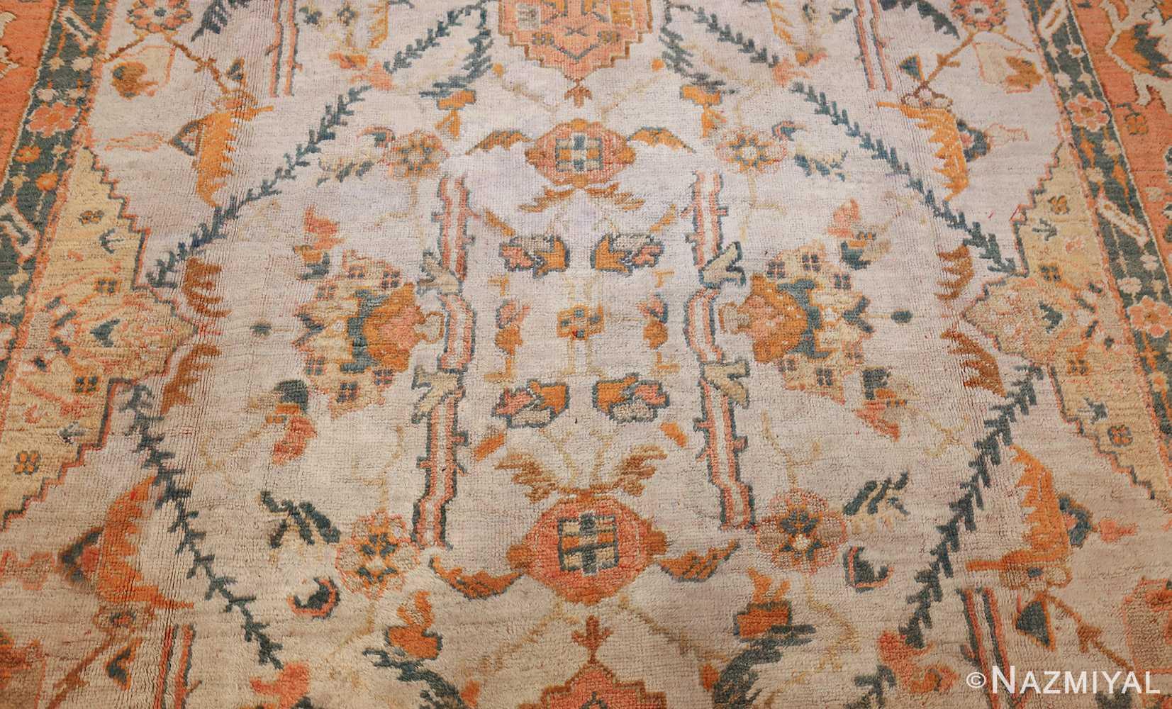 large ivory background turkish antique oushak rug 50666 center Nazmiyal