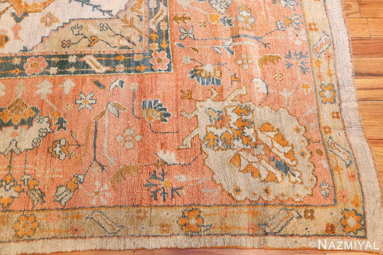 large ivory background turkish antique oushak rug 50666 corner Nazmiyal