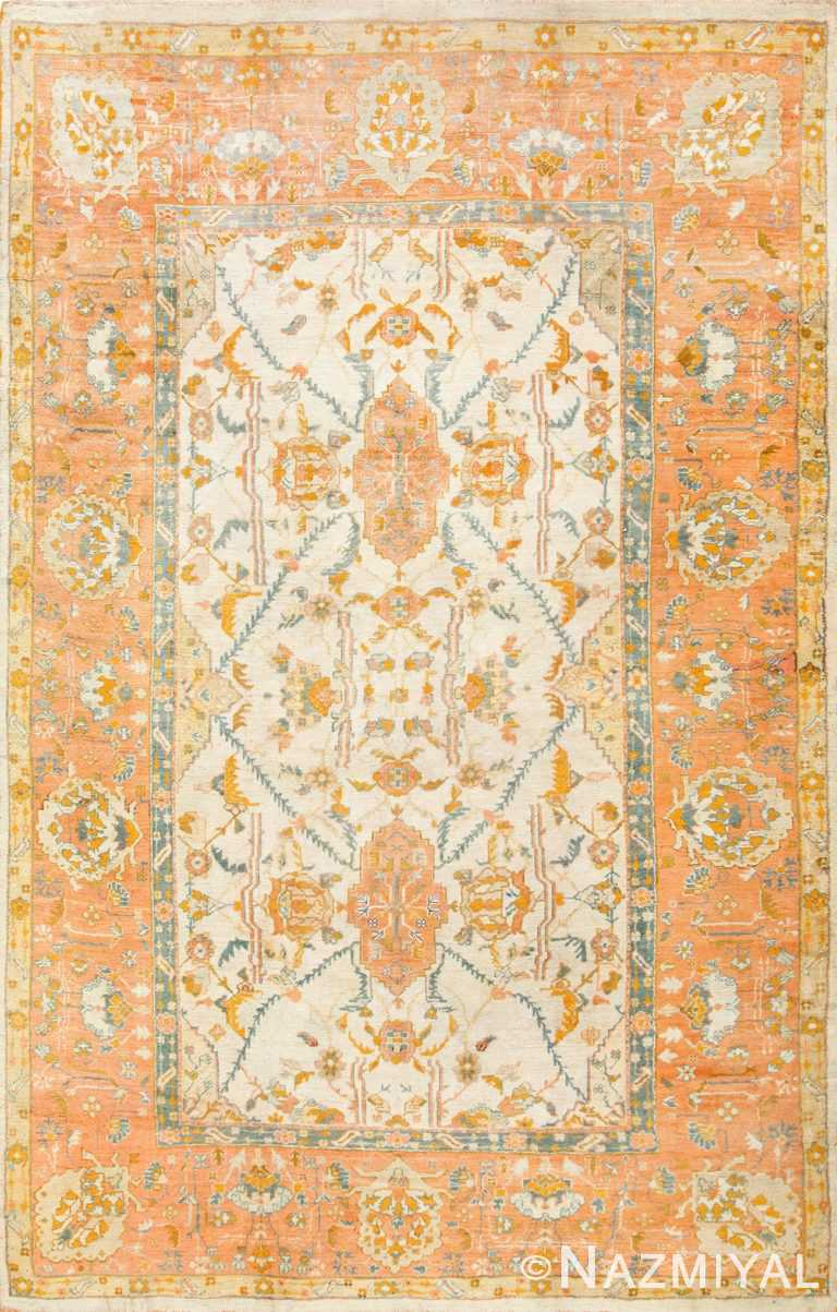 Large Ivory Background Turkish Antique Oushak Rug 50666 Nazmiyal