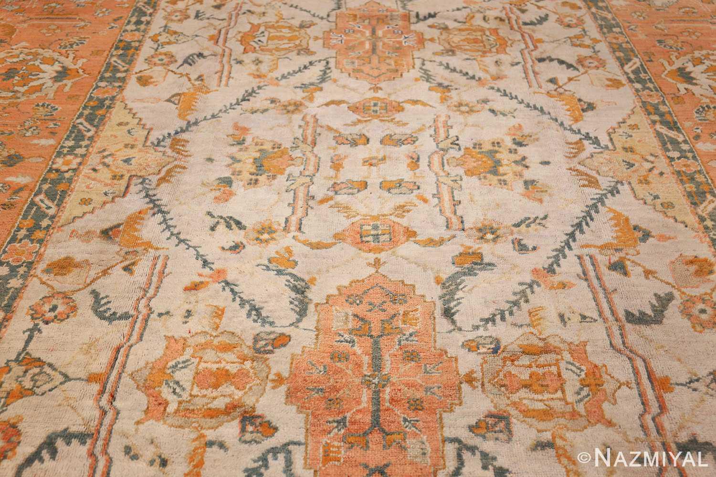 large ivory background turkish antique oushak rug 50666 field Nazmiyal