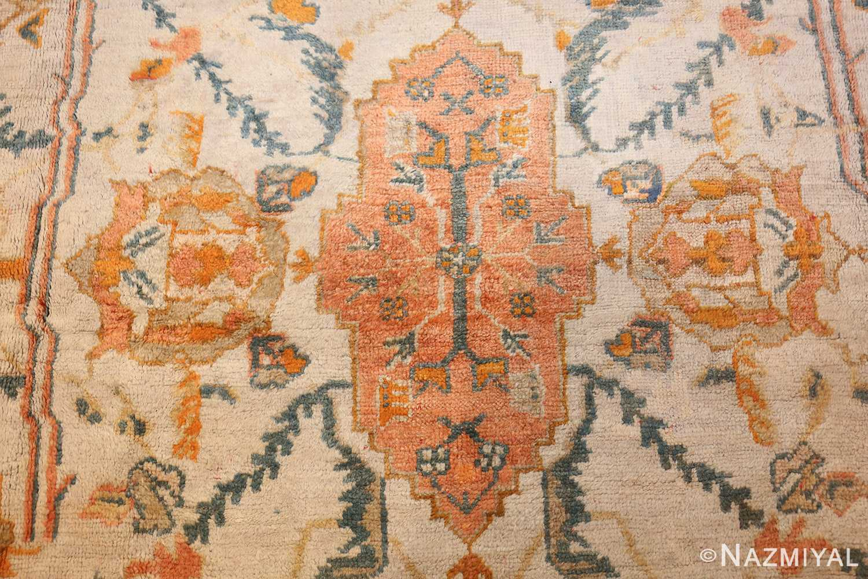 large ivory background turkish antique oushak rug 50666 medallion Nazmiyal