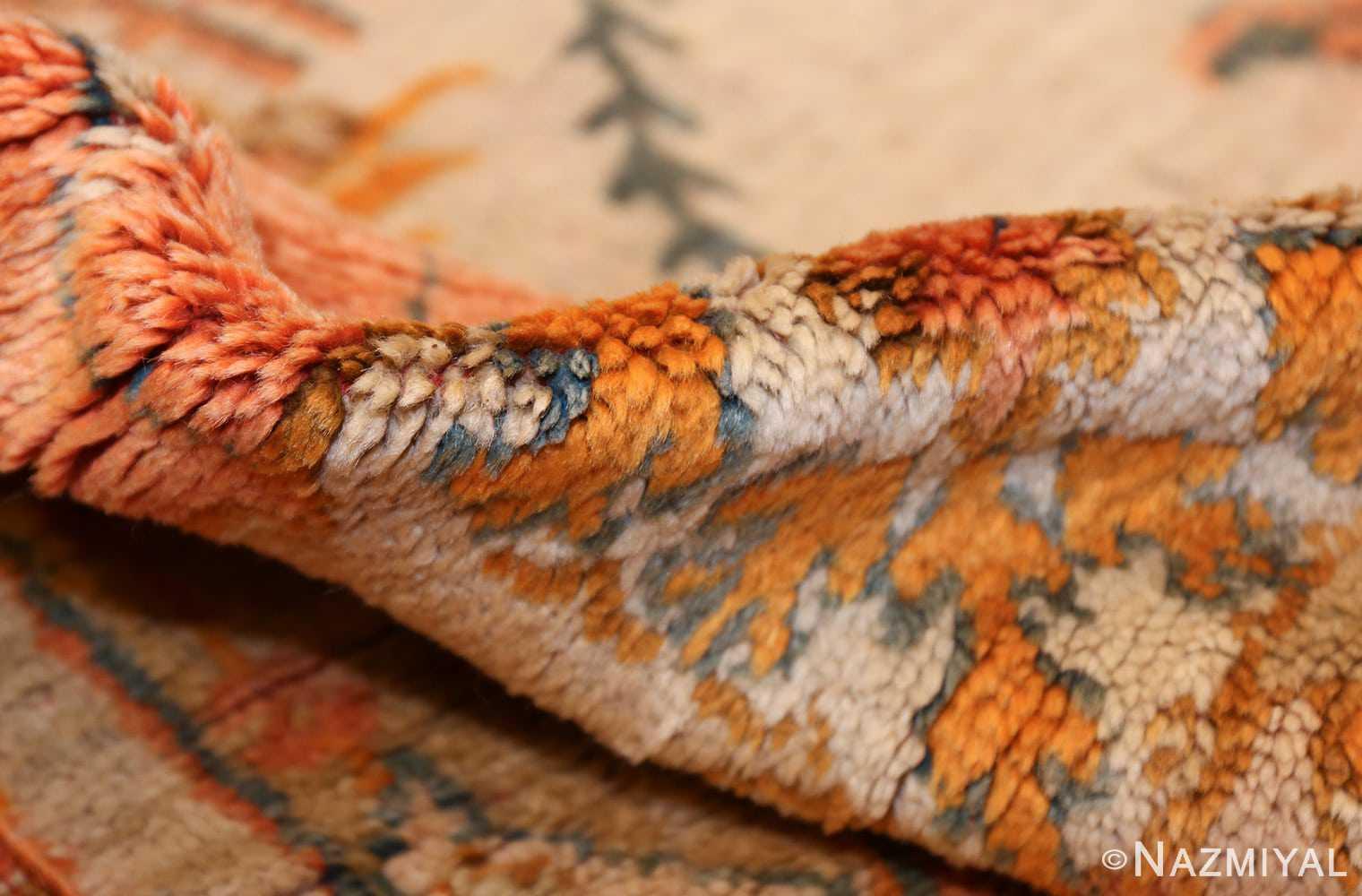 large ivory background turkish antique oushak rug 50666 pile Nazmiyal