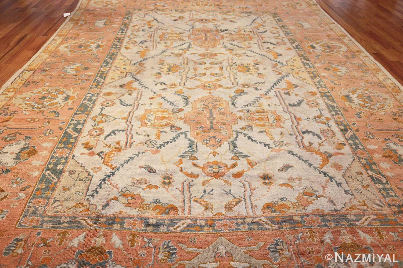 large ivory background turkish antique oushak rug 50666 whole Nazmiyal