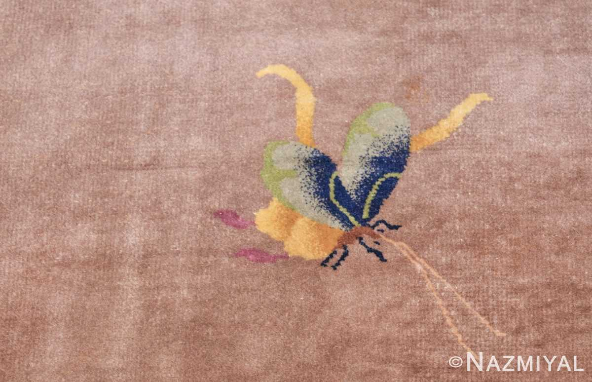 purple antique art deco chinese rug 48769 butterfly Nazmiyal